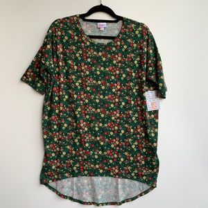 Lularoe Irma High-Low Tunic Floral Green Size XS